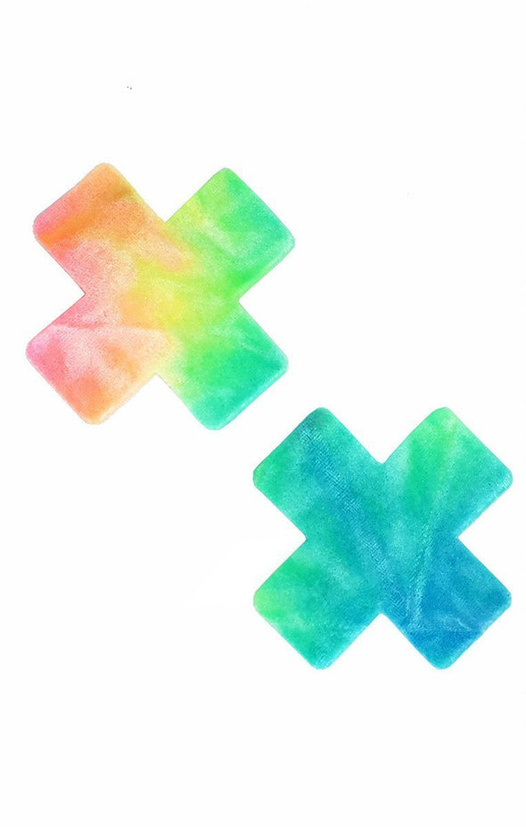 Cross Pasties in Bubble Tie Dye Velvet - ravernationshop