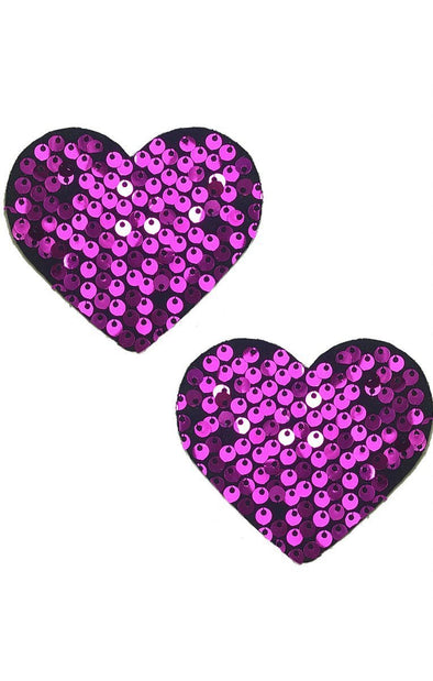 Heart Pasties in Heartbeat Sequin - ravernationshop