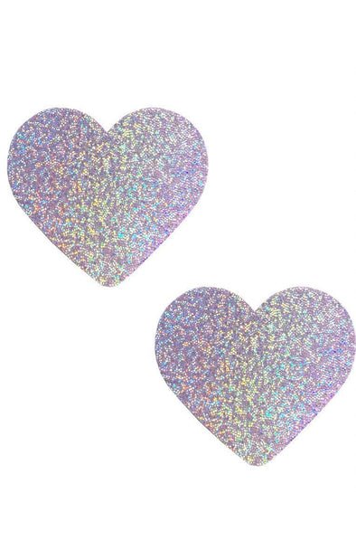 Heart Pasties in Lavender Hologram - ravernationshop
