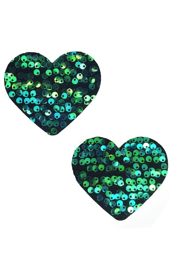 Heart Pasties in Siren Sequin - ravernationshop