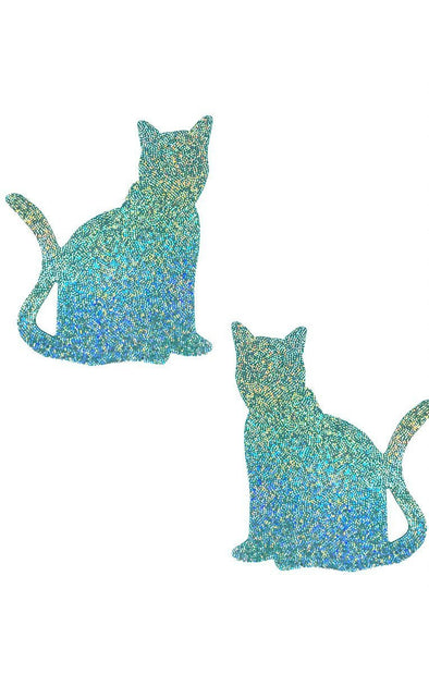 Kitty Pasties in Mint Hologram - ravernationshop