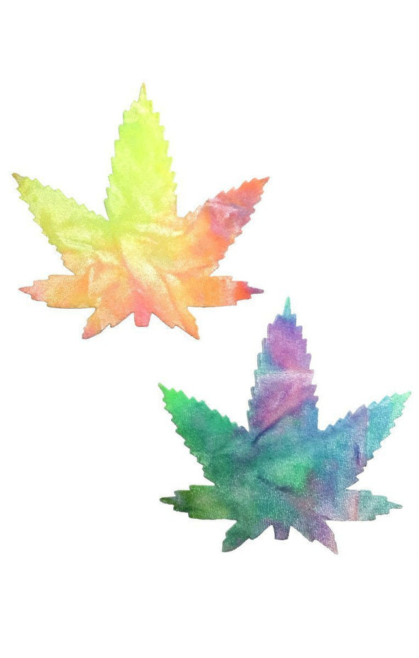 Weed Pasties in Bubble Tie Dye Velvet-Pasties-RaverNation