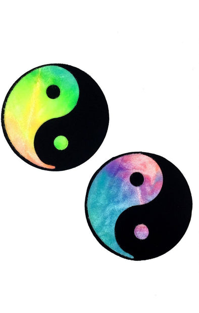 Yin Yang Pasties in Bubble Tie Dye Velvet-Pasties-RaverNation