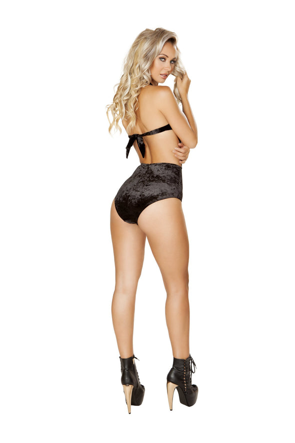 Cutout Bodysuit with Velvet Shorts and Sheer Top - ravernationshop