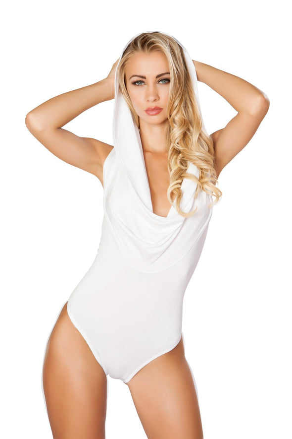 Hooded Bodysuit with Slimmed Open Back Detail - ravernationshop