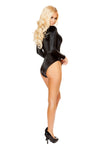 Long Sleeved V Neck Bodysuit with Lace Up Detail- Black - ravernationshop