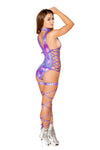 Shimmer Bodysuit with Side Lace-up Detail - ravernationshop