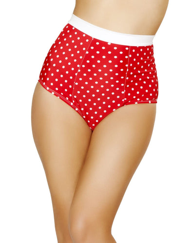 High-Waisted Banded Shorts- Red/White Polka Dots - ravernationshop