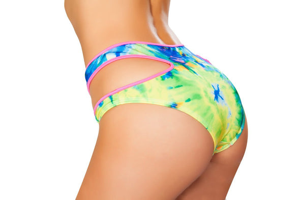 High-Waisted Cutout Printed Shorts - ravernationshop