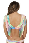 Tie Dye Velvet Crop Top with Fringe Detail - ravernationshop