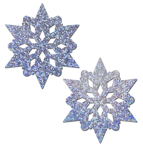 Silver Glitter Snowflake Pastease-Pasties-RaverNation