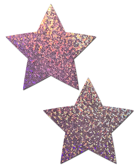 Rave Clothing, Rave Outfits - Lilac Glitter Star  Pastease - RaverNationShop