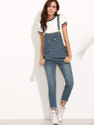 Dark Blue Scratch Denim Overall Pants