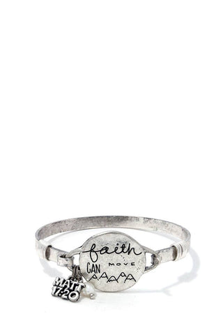 Faith Can Move Mountains Metal Bracelet