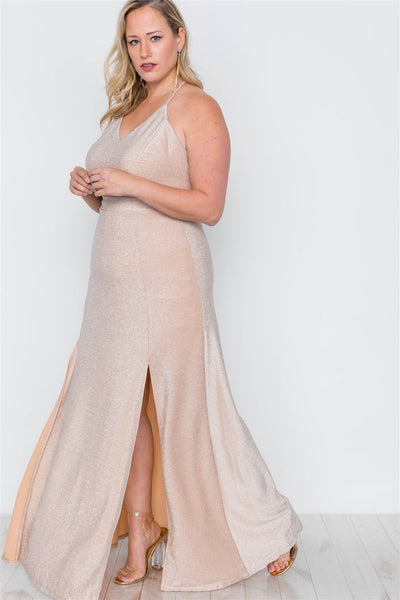 Plus Size Nude Front Slits Cami Evening Maxi Dress
