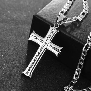 Gold/Silver Tone Philippians 4:13 Stainless Steel Cross Pendant With Figaro Chain