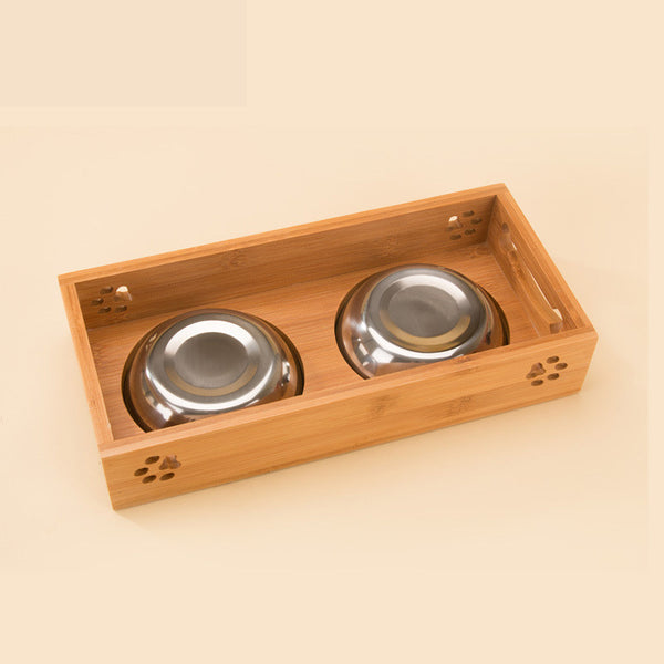 Petminru Dog Cat Bamboo Stainless Steel Double Food Water Bowls