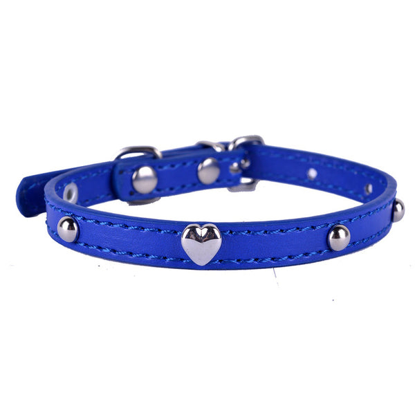 Cat Leather Heart Shaped Studded Collar