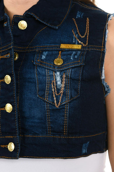 Sweet Look Women's Denim Vest - Style 514