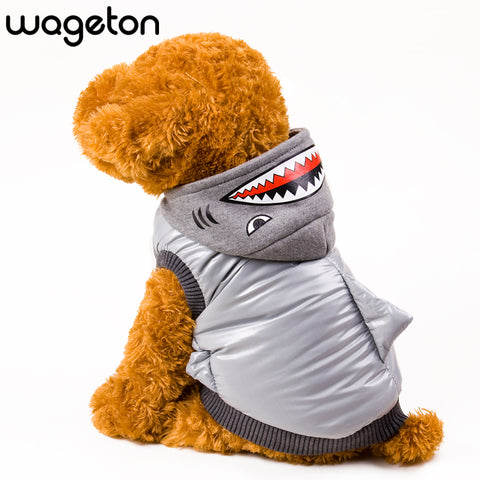 WAGETON Fashion Dog Clothes SHARK Warm Coat Pet Puppy Cat Warm Apparel -Halloween Costume