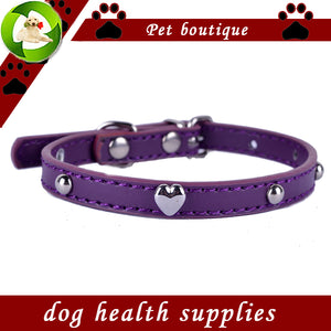 Pet Cat Collar Leather Collar For Cats Heart Shaped Studded Small Pet Supplies