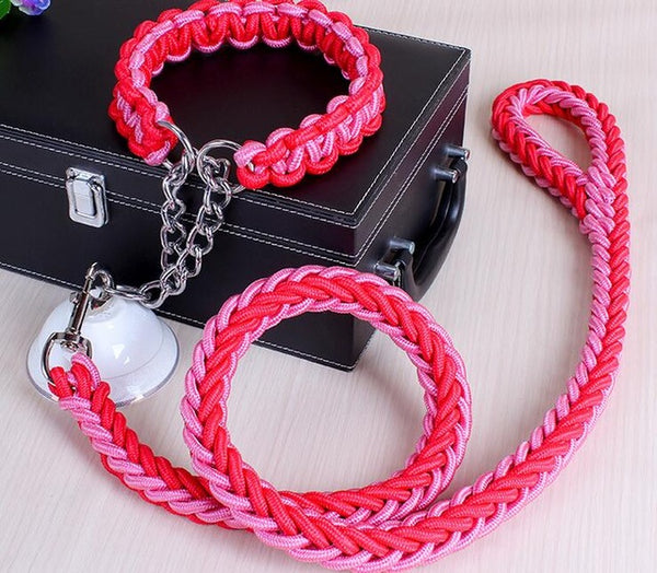 Double Strand Traction Rope Leash Collar Set For Big Dogs