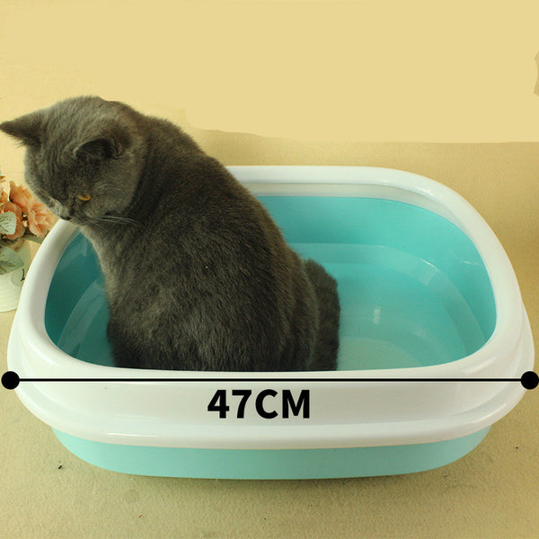 2017 cat semi - enclosed anti splash oval cat litter basin high edge throwing sand cat litter box