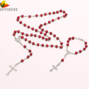 OPPOHERE Christ Religious Red Wooden Rosary Beads Chain Cross Necklace Bracelet Jewelry