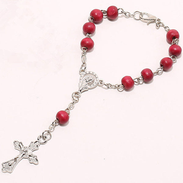 OPPOHERE Red Wooden Rosary Bead Chain Cross Necklace Or Bracelet Jewelry