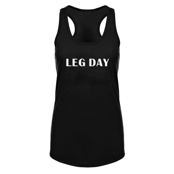 Womens Leg Day Squat Funny Fitness Workout Racerback Tank Top