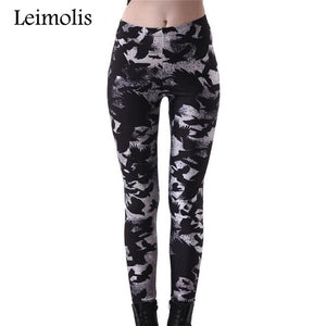 Leimolis 3D Printed Fitness Workout Leggings Women Gothic Plus Size High Waist Punk Rock Pants