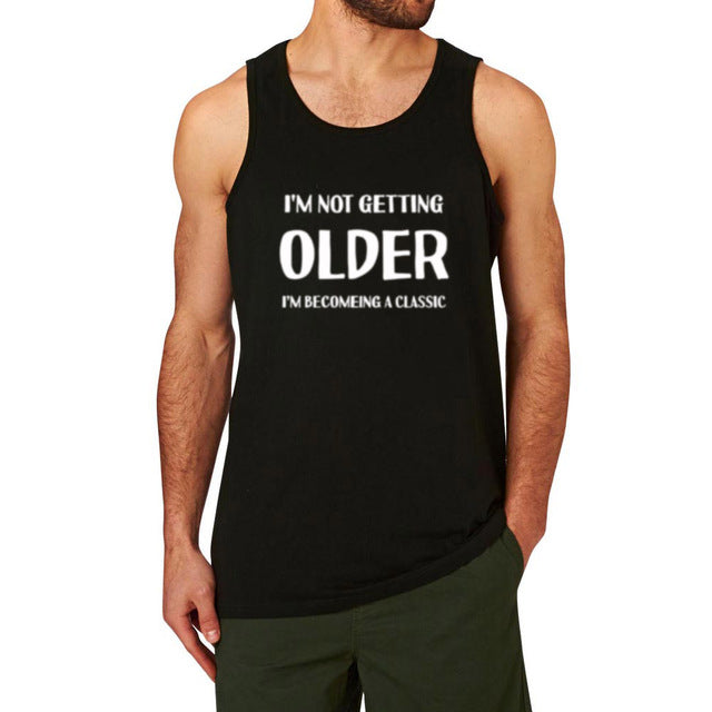 Mens I'M NOT GETTING OLD FUNNY PRINTED Fitness Workout Tank Tops men