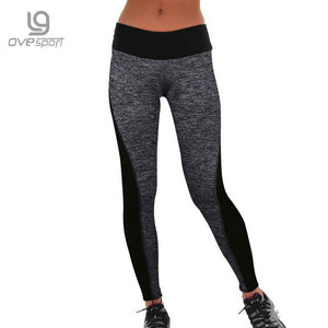 Plus Size Black/Gray Women's Fitness Workout High Waist Leggings