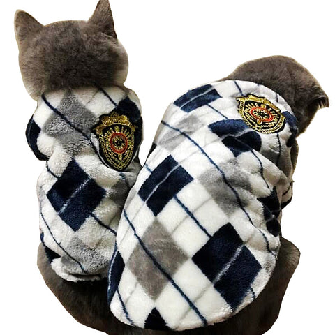Red /Yellow /Gray  Autumn Winter Flannel Dog Cat Pet Outfit For Small Cat Dog Puppy