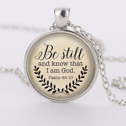 SUTEYI Hot sale Bible Verse Necklace, Be Still and Know That I am God Pendant, Psalm 46:10 Quote Jewelry, Your Choice of Finish