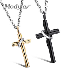 Modyle Cross Necklaces&Pendants For Men and Women Stainless Steel Gold-Color Male Pendant Necklaces Prayer Jewelry