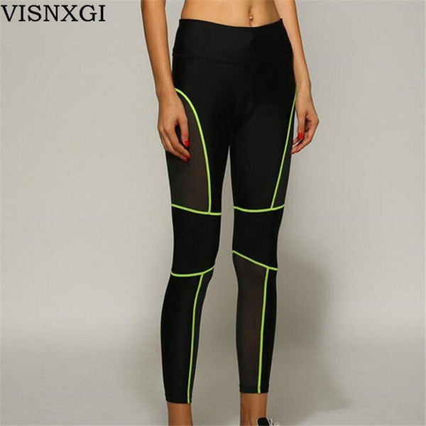 Women's Fitness Workout Thin Strip Fluorescent Neon Leggings