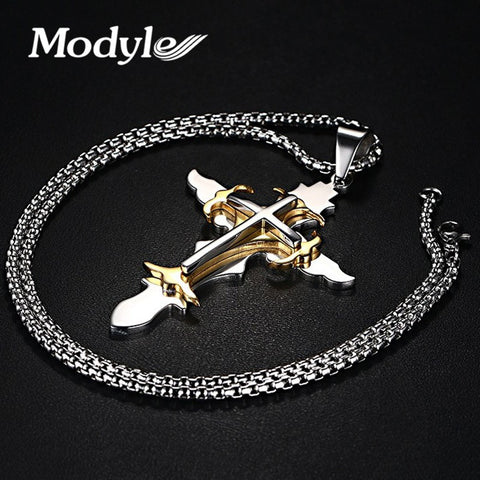 Modyle Stainless Steel Men's Large Layered Cross Pendant Necklace for Men Jewelry with 24 Inch Box Chain