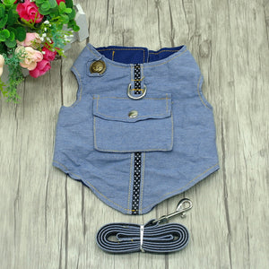 Denim Dog Harness and Leash Pet Vest Jacket For Small Dogs Poodle Chihuahua Yorkies Vest
