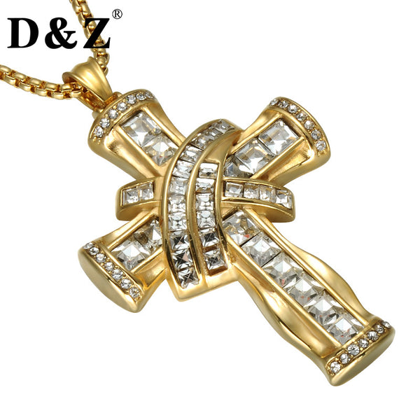 D&Z Rhinestone Crucifix Pendant Necklace Gold Color Stainless Steel Religious Cross Necklace