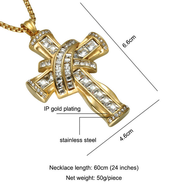 D&Z Iced Out Rhinestone Crucifix Pendant Necklace Gold Color Stainless Steel Religious Cross Necklace for Christian Jewelry