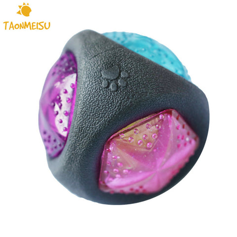 Luminous Dog Toy Bouncy Balls Bite- resistant Dog Training Pet Toys With Sound & Light