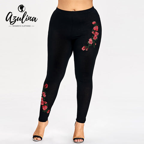 Women's Plus Size Embroidery Floral Fashion Skinny Elastic Fitness Leggings