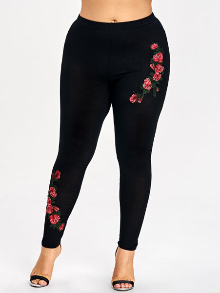 AZULINA Plus Size Embroidery Floral Leggings Women Fashion Leggins Skinny Elastic Fitness Jeggings Pencil Pants Sexy Trousers