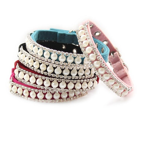 Rhinestone Pearl Cat Dog Princess Collars