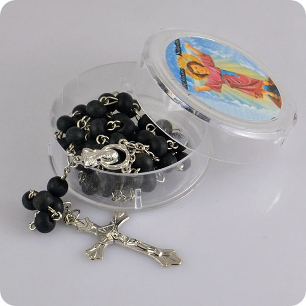Rose Scented Perfume Wood Rosary Beads INRI JESUS Cross Pendant Necklace