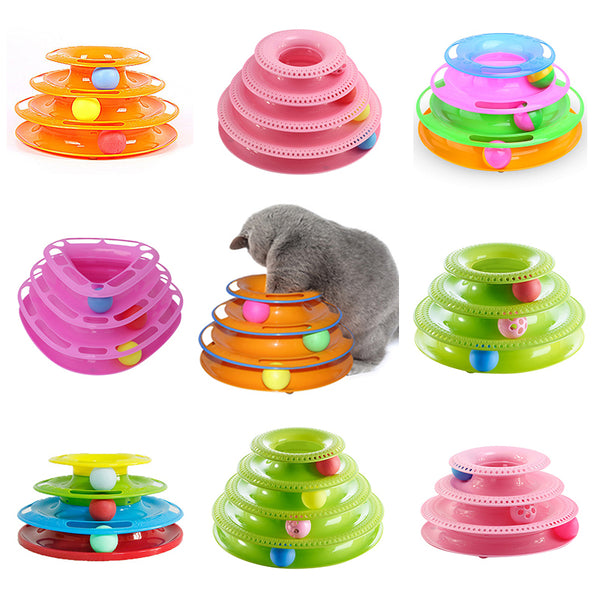 Funny Interactive Amusement Trilaminar Turntable Cat Toy