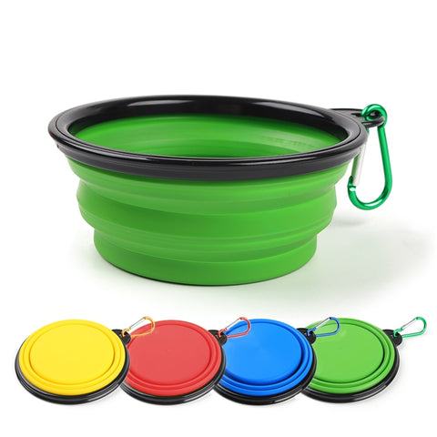 Portable Silicone Collapsible Dog And Cat Food And Water Travel Bowls