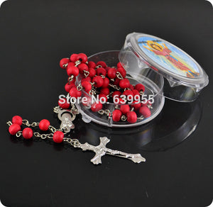 rose scented perfume wood Rosary Beads INRI JESUS Cross Pendant Necklace Catholic jewelry