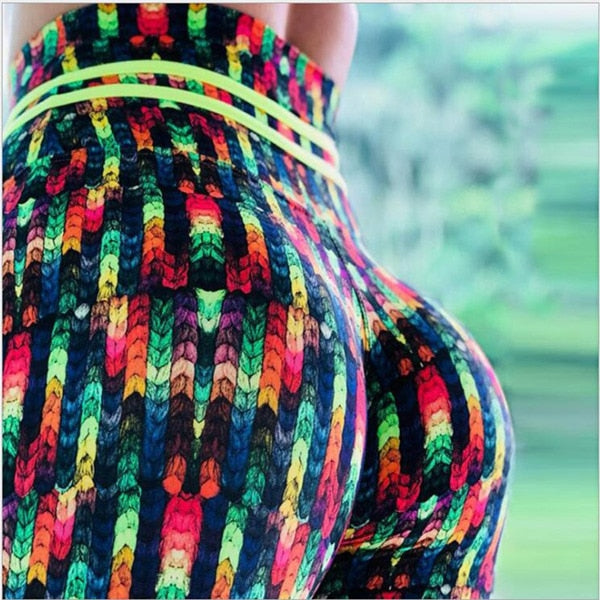 Women's Print Elastic Breathable High Waist Workout Fitness Leggings
